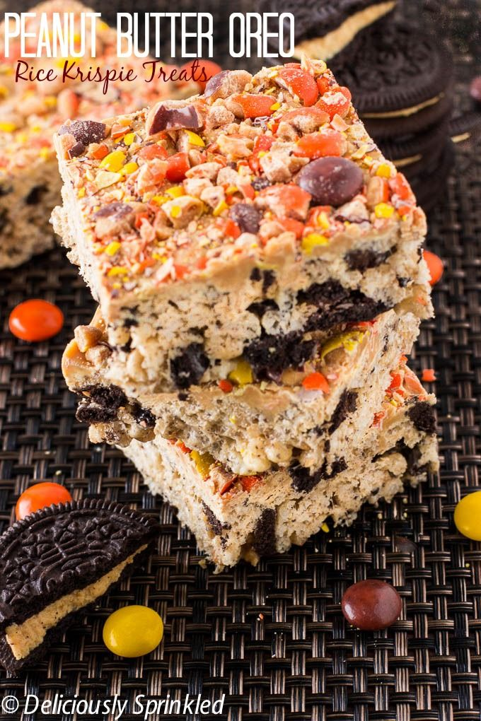 Deliciously Sprinkled | Peanut Butter Oreo Rice Krispie Treats | http://deliciouslysprinkled.com