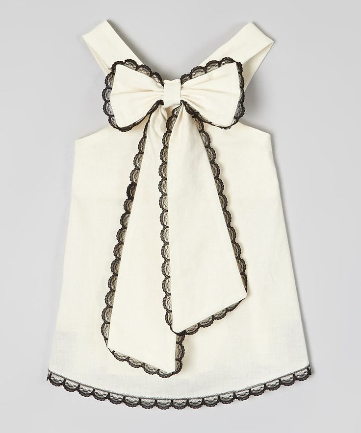 Look at this #zulilyfind! Ivory & Black Scalloped-Lace Top - Infant, Toddler & Girls by Little Miss Fashion #zulilyfinds