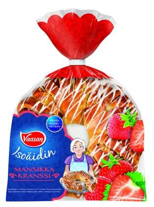 VAASAN Isoäidin Mansikkakranssi 400 g mansikka-omena-vaniljatäytteinen pullakranssi
