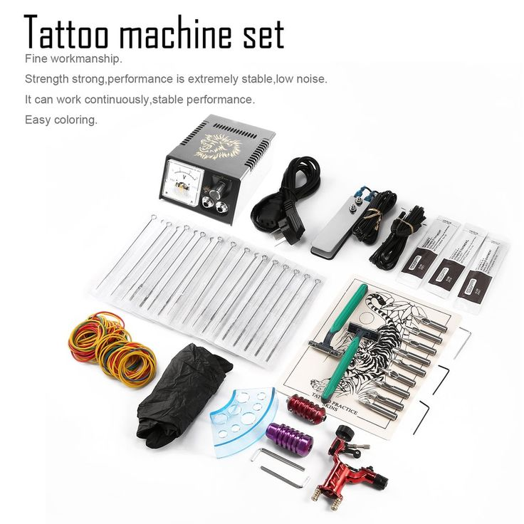 Professional Complete Tattoo Equipment permanent Tattoo Machine Kit Power Supply 45pcs Needles Body Tattoo Art
