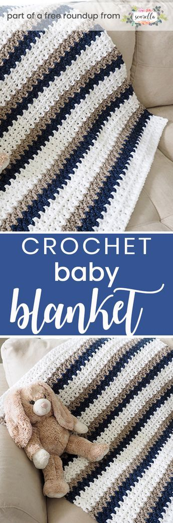 Crochet this easy beginner friendly striped boys baby blanket from Dabbles & Babbles from my crochet baby blankets for boys free pattern roundup!