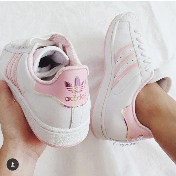 shoes light pink stripes adidas superstars