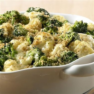 BROCCOLI-CAULIFLOWER CASSEROLE • black pepper, dry bread crumbs, frozen broccoli florets, butter, frozen cauliflower florets, cream cheese, flour, garlic powder or garlic salt, Italian Seasoning, milk, onion, grated Parmesan cheese • Bakes for 40 minutes. •