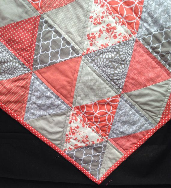 CUSTOM MADE TO ORDER-------------- Bright Coral and Grey Modern Triangle Quilt SHIPS IN 2-3 WEEKS   This sweet quilt is made with beautiful coral & grey cotton fabrics. The bright modern color & flower accents would be a lovely in any room. It will make a great center piece for any nursery or family room. It has so many uses, as a tummy time play mat, a stroller blanket, a carseat cover, perfect for a toddler bed, or just to snuggle on the couch. Also makes a perfect gift for weddings...