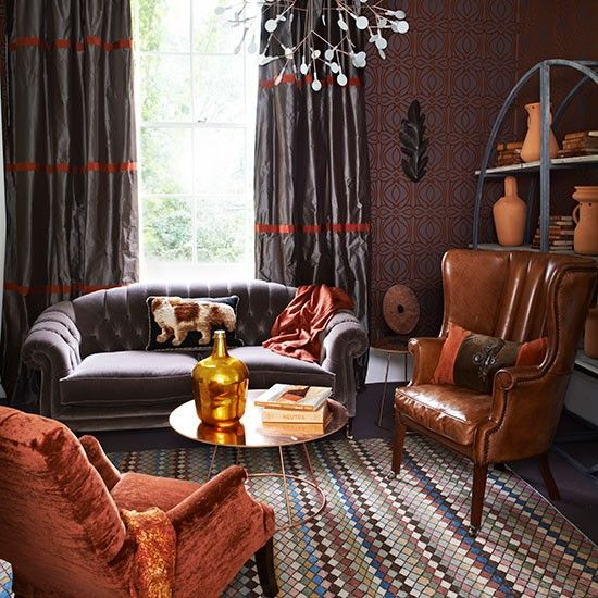 Best 25 burnt orange curtains ideas on pinterest burnt - Burnt orange feature wall living room ...