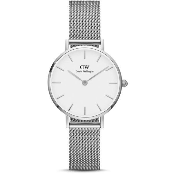 Daniel Wellington Classic Petite Watch, 28mm ($127) ❤ liked on Polyvore featuring jewelry, watches, daniel wellington, white jewelry, white watches, daniel wellington watches and silver jewelry