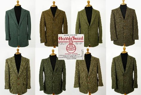 Green Harris Tweed jacket. Mens green Harris Tweed jackets.. pure wool mens green Harris Tweed jackets in plain, check, herringbone and patterned Harris Tweed @ http://www.tweedmansvintage.co.uk