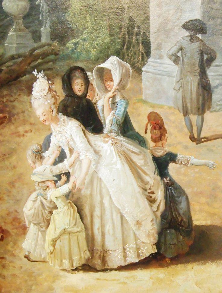 Louis XVI, Marie-Antoinette, Princess de Lambale, the kids…{Detail}, by Hubert Robert (1733 – 1808)