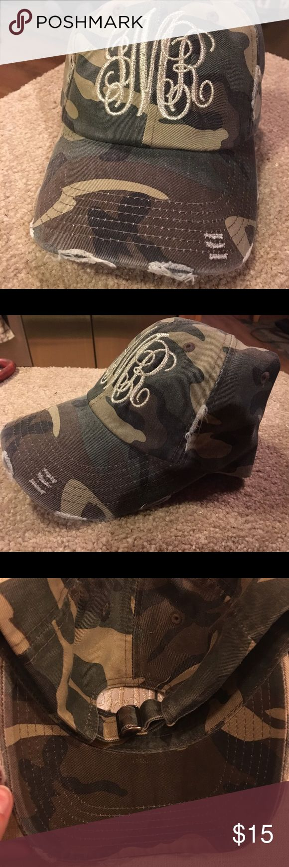 Distressed camo hat with monogram Distressed camo hat with monogram. Initials are JMR (first, last, middle) Accessories Hats