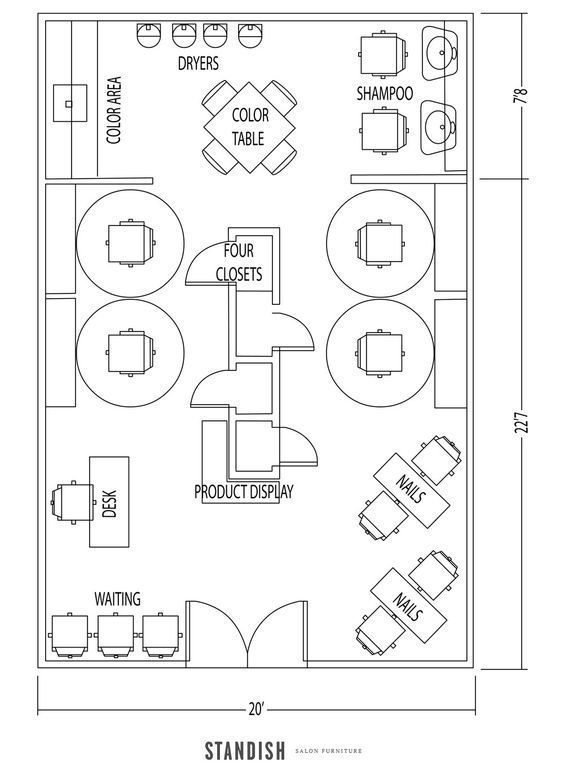salon and nail bar layout interiors