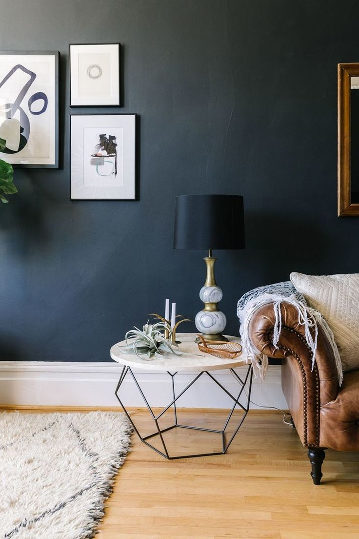 Charcoal Living Room Walls Click For More Dark Wall Inspiration