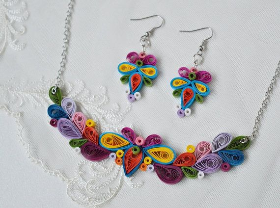 Paper anniversary gift for wife flower necklace 1st by SbirOtak