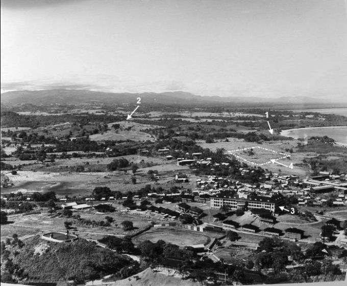 Ciudad de Panamá en 1913. 1) Area del parque Urracá, 2) Cerro La Cresta, 3) Hotel Tivoli (hoy STRI), 4) La Exposición de 1915