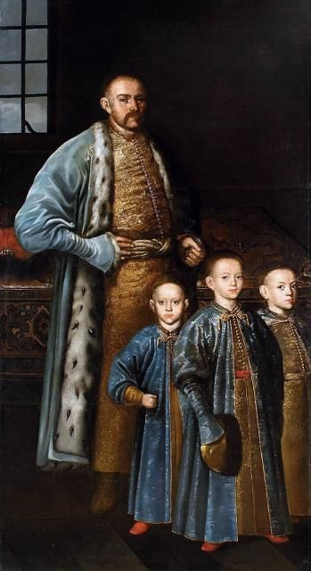Portrait of Polish nobleman Maksymilian Franciszek Ossoliński  and his sons,1670-80