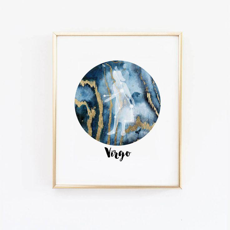 Virgo Horoscope Art, Astrology Poster, Zodiac Constellation, Virgo, Zodiac Wall Art, Virgo sign, star Constellation, September Birthday Gift by wallandwonder on Etsy