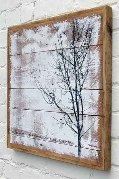 Art on pallet, looks great on white painted brick!
