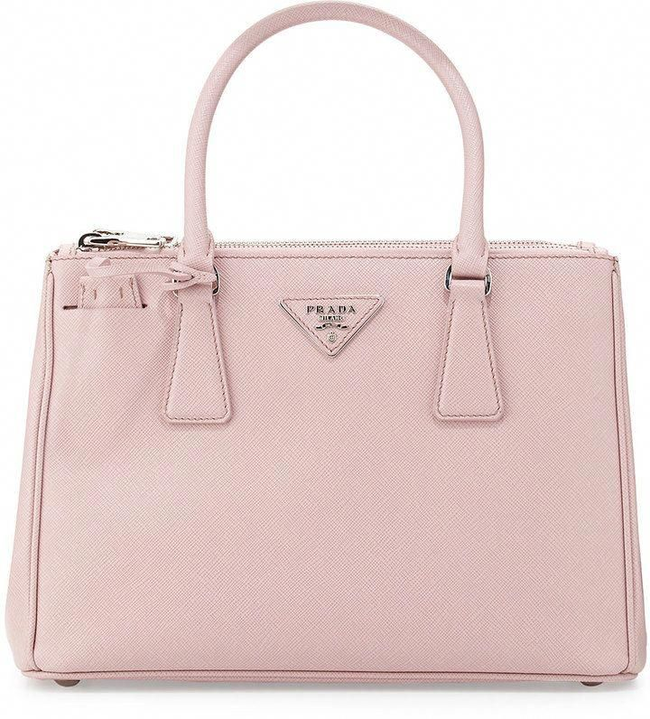 Prada Saffiano Lux Double Zip Tote Bag Light Pink Mughetto Pradahandbags