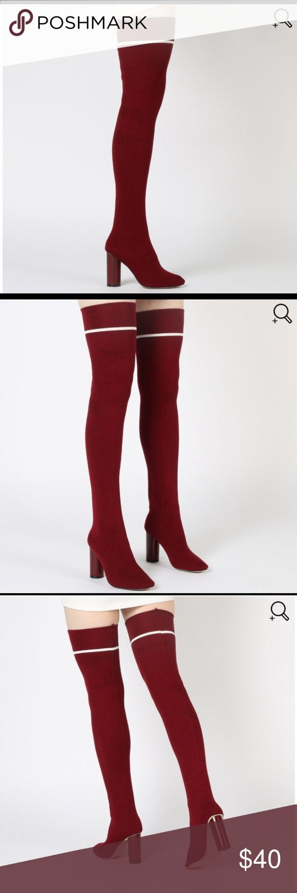 Thigh high sock boots Very stretchy material, Bordeaux with white stripe at top. Only worn once, very cute. Size 9, UK 7, but fits like a US woman's 8. Shoes Over the Knee Boots