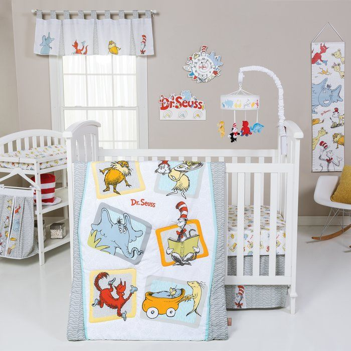 Oh the places your little one will go! The inspirational Dr. Seuss book Oh The Places You'll Go is beautifully brought to life with this 4 Piece Crib Bedding Set by Trend Lab. Complete your nursery with coordinating room accessories from the Dr. Seuss Oh The Places You'll Go collection. Providing your baby with a stylish and nostalgic nursery everyone will enjoy.