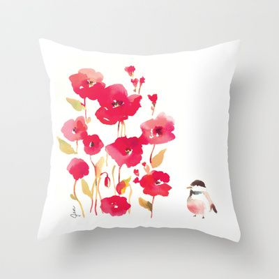 Poppies Throw Pillow by Fitchwell's Watercolors - $20.00