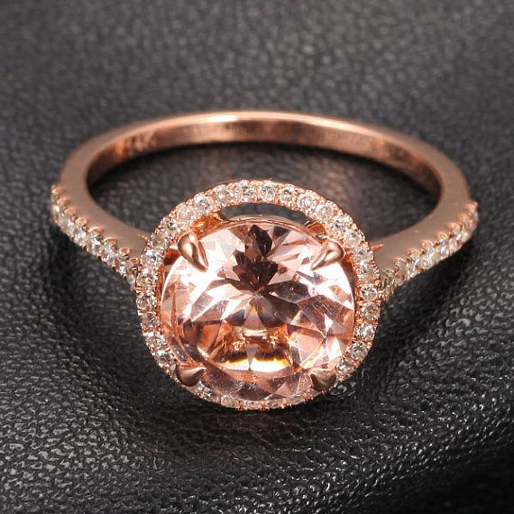 Round Morganite Engagement Ring.32ct Pave Diamond HALO Claw Prongs14K Rose Gold Wedding Ring on Etsy, $469.00