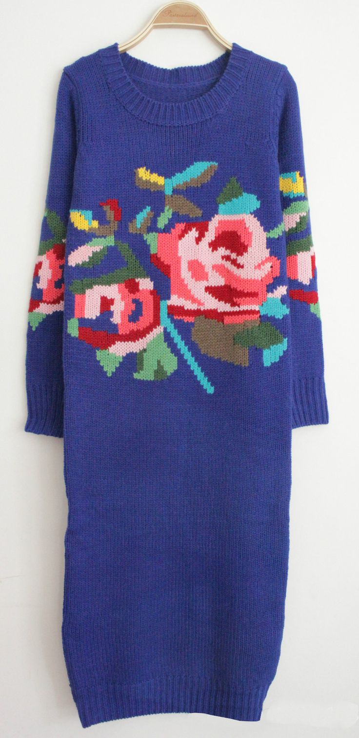 Royal Blue Long Sleeve Rose Pattern Sweater Dress US$43.59