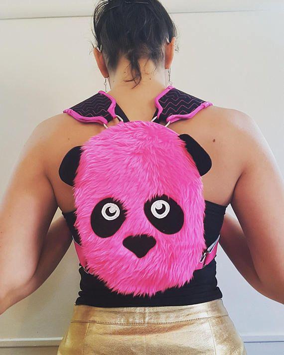 Cute Neon Pink Panda Furry Mini Rave Backpack