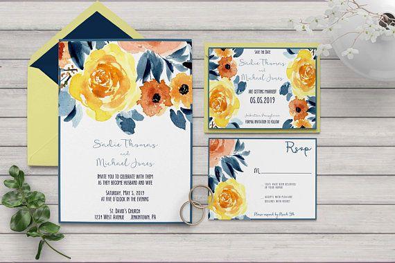 Floral Wedding Invitation Printable Wedding Invitation Blue Etsy Floral Wedding Invitations Printable Floral Wedding Invitations Printable Wedding Invitations