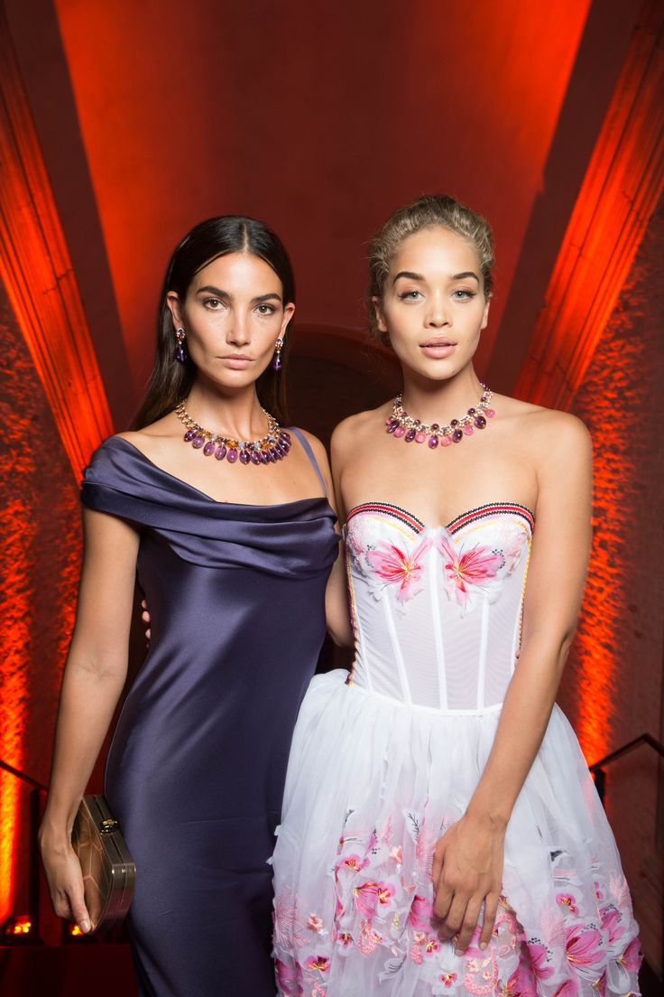Lily Aldridge and Jasmine Sanders aka Golden Barbie, at Bulgari Festa event in Venice, Italy, June 2017 showcasing Bulgari's high jewellery. Lily wears a satin purple dress with amethyst necklace and Jasmine a floral corset dress with pink tourmaline and amethyst necklace. To see more Bugari style: http://www.thejewelleryeditor.com/brands/bulgari/