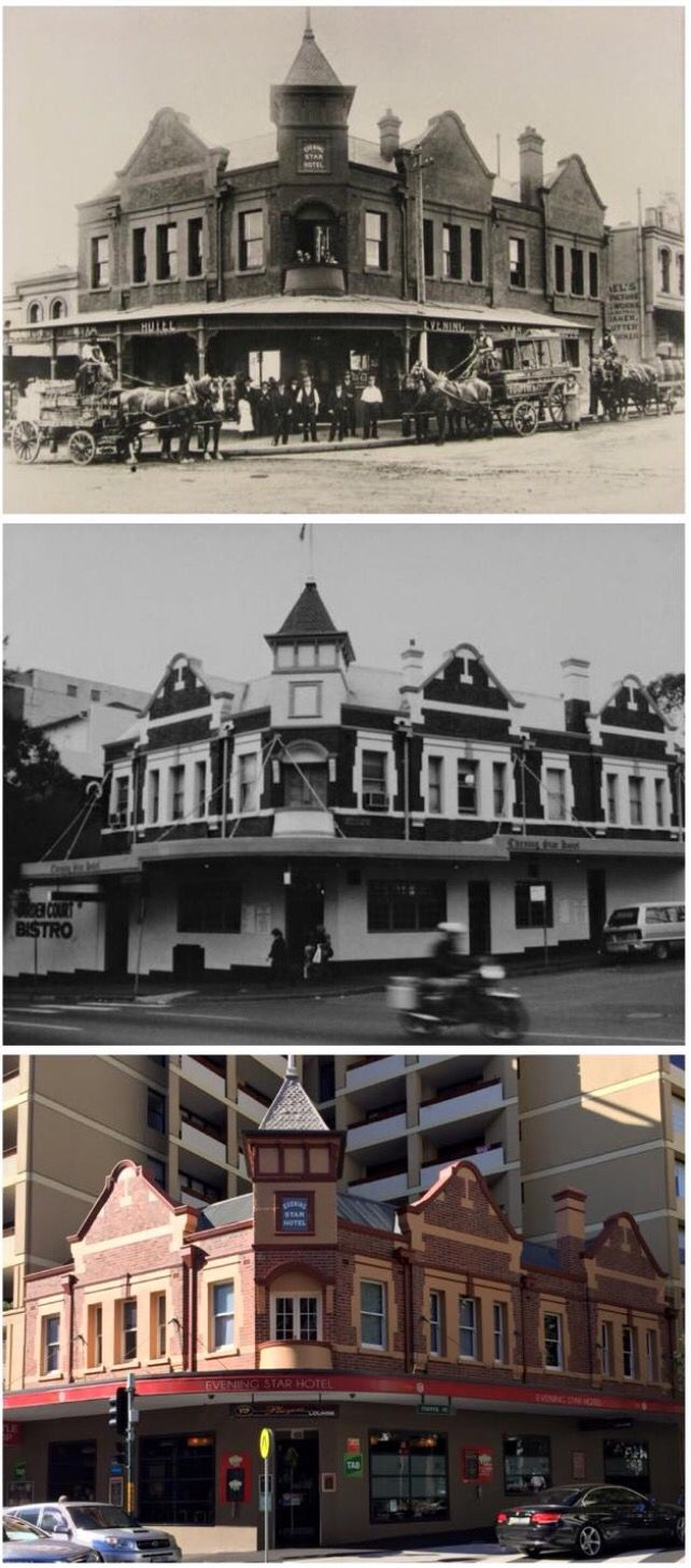Evening Star Hotel, cnr of Cooper and Elizabeth Sts, Surry Hills c1905>1989>2015 (1905 & 1989: City of Sydney Archives, 2015: Curt Flood. By Curt Flood)
