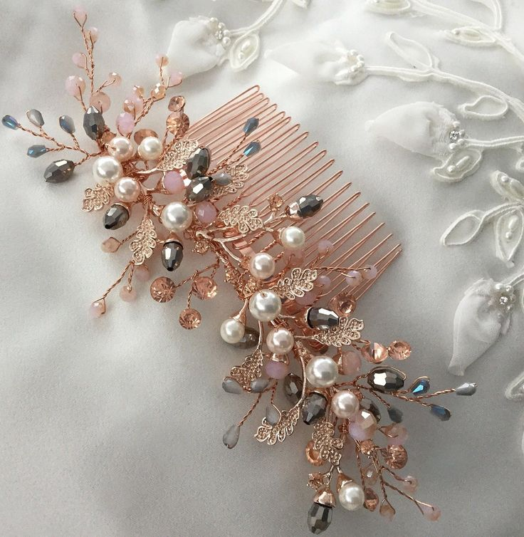Bridal hair comb,Vintage inspired,Rose gold,pink silver grey,crystal headpiece | eBay