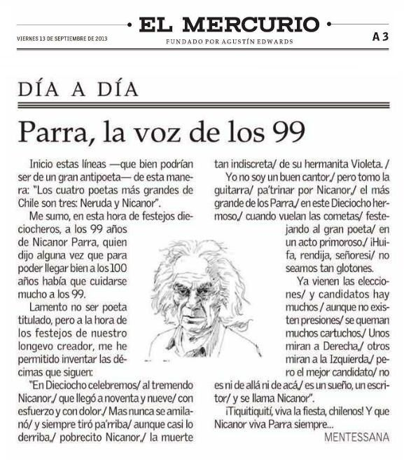 Artículo del diario chileno El Mercurio (13 de septiembre de 2013). Parra, la voz de los 99.