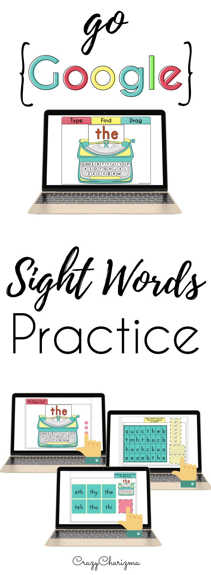 Sight words activities for Preschool, Kindergarten, and First Grade. Have fun with Google Classroom reading strategies, simplify your teaching and enable students learning in no time. No prep and no print required! Engage your kids in kindergarten (as well as grade 1 and 2) with these digital sight words activities and practice Fry words in a fun way! | CrazyCharizma