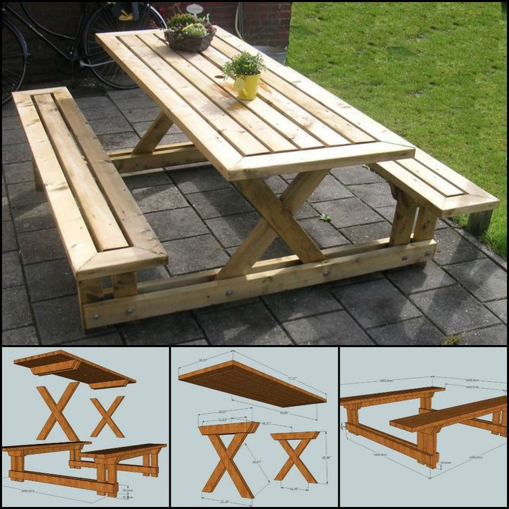 Best 25 picnic table plans ideas on pinterest picnic tables diy picnic table and outdoor for Diy garden table designs