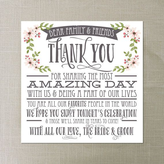 Wedding Thank You Card Country Bloom White Reception Place Setting Diy Instant