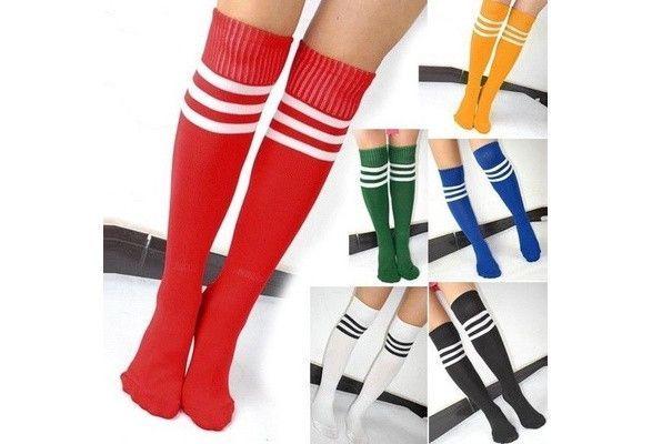 Striped Knee High Football Socks Soccer Hockey Sport Long Tube Stocking
