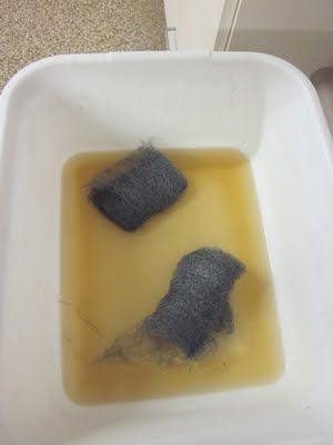 SO FREAKIN AWESOME!!! Soak steel wool in apple cider vinegar, rub down