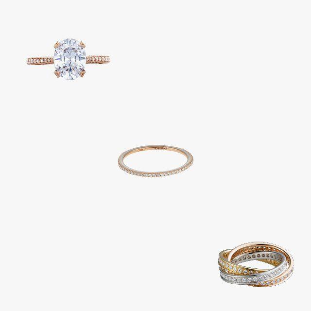Tacori RoyalT ring, price upon request, for information: tacori.com; Raphaele Canot skinny Deco diamond, enamel, and pink gold ring, $1,386, matchesfashion.com; Cartier Trinity de Cartier ring, $14,000, cartier.us