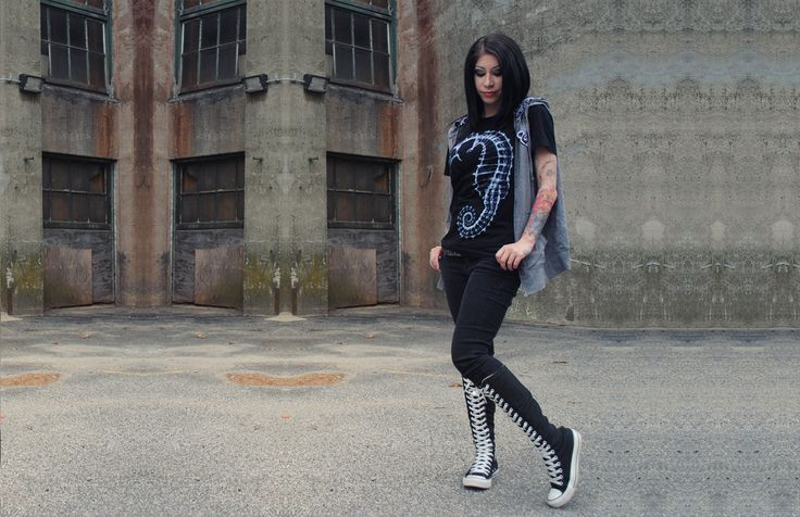 Women's seahorse skeleton tee shirt, white leopard print faux fur punk vest, converse tall boots, girls with tattoos  Catch up on the latest soft grunge styles and fashion from Koalacore // we donate proceeds from every sale to a different non kill animal shelter every month