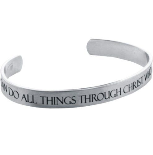 """Forgiven Jewelry - Stainless Steel - Etched """"I CAN Do ALL Things Through Christ""""... Philippians 4:13 Cuff Bracelet Forgiven Jewelry. Save 4 Off!. $12.49. Etched I Can Do Design. Solid Stainless Steel. Brushed Metal Finish. Cuff Bracelet. Please see matching stainless steel spinner ring - item code RSS7"""