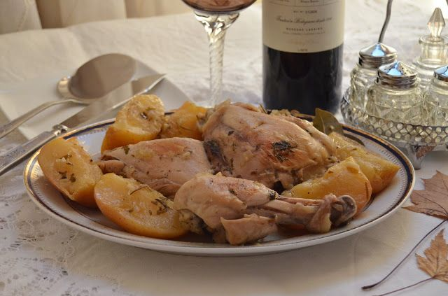 Pollo en salsa de sidra con manzanas