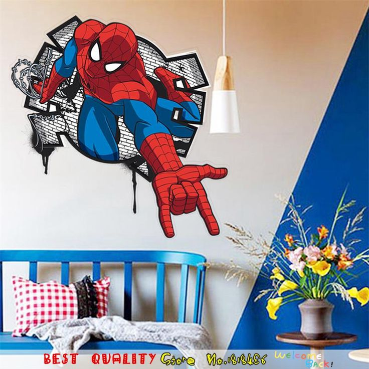 Cool Spiderman Wall Sticker Waterproof Removable Wall Decal Superheros Children Christmas Gifts Supplies Home Room Decoration