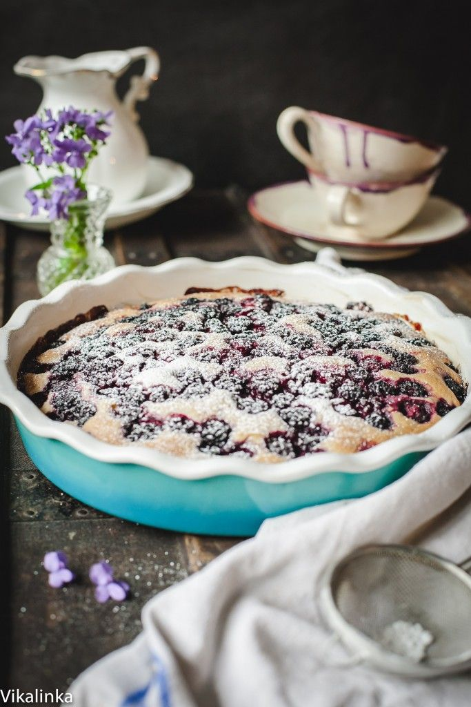 Simple cake for tea filled with jammy wild blackberries.