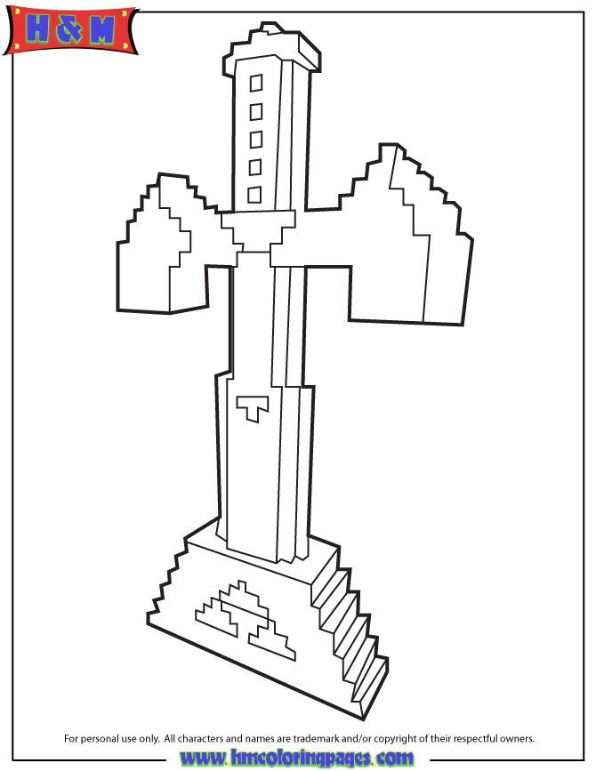 Sword In Minecraft Game Coloring Page