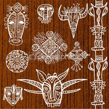 Máscaras ornamentales tribales — Ilustración de stock #69119779