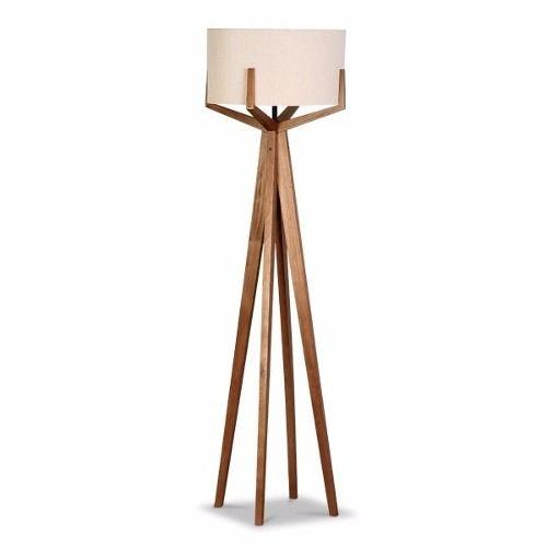 abajur tripe de chão em madeira com design exclusivo