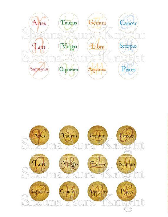 Astrology 12 Zodiac Signs 1 inch circles by ShaunaAuraKnight