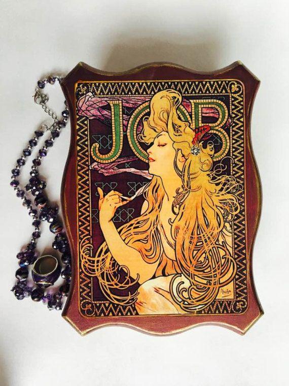 Jewelry Box Wood Alphonse Mucha JOB Wooden Jewelry Box Art