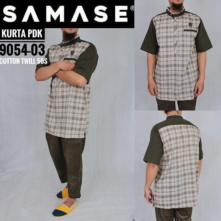 SAMASE GAMIS KURTA PAKISTAN 9054 PDK Warna Kotak Tangan Hijau