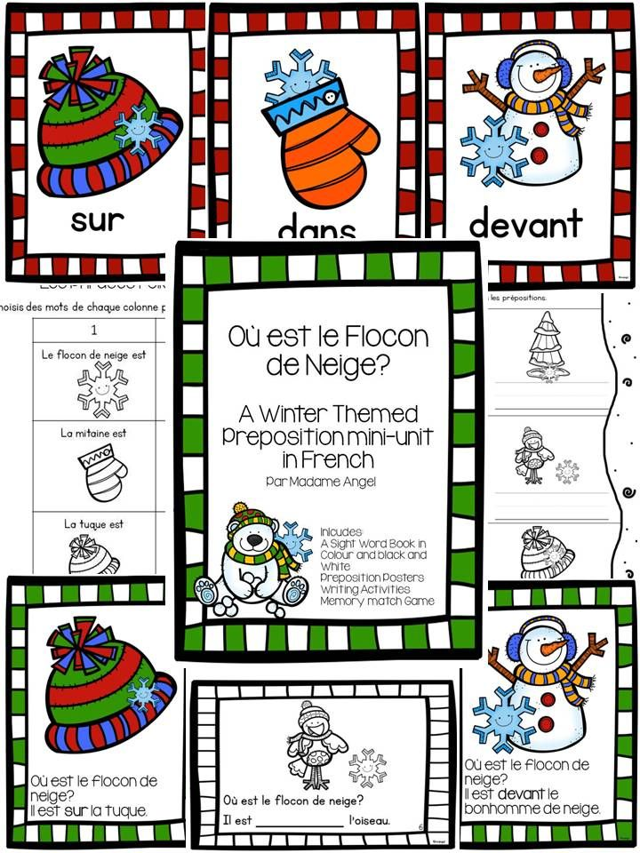 $ A Winter Themed Preposition Unit in French!  Includes posters, a story and activities to help primary students learn about prepositions.